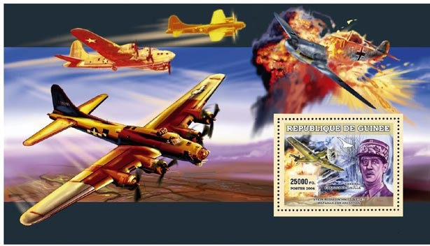 AVIONS MILITAIRES, GEN. CHARLES DE GAULLE - Issue of Guinée postage stamps