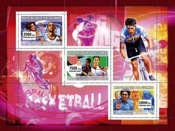 Sports: Basketball - Ping Pong - Cyclism - Issue of Guinée postage stamps