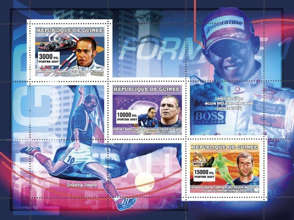 Sports: Formula I - Rugby - Football - Issue of Guinée postage stamps