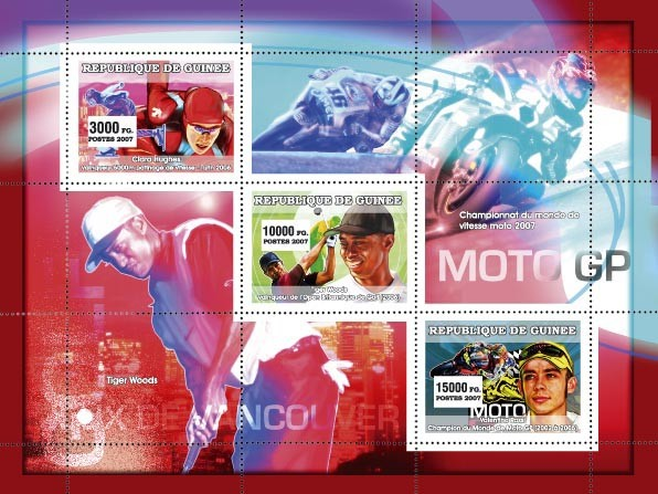Sports: winter sports - golf - moto - Issue of Guinée postage stamps