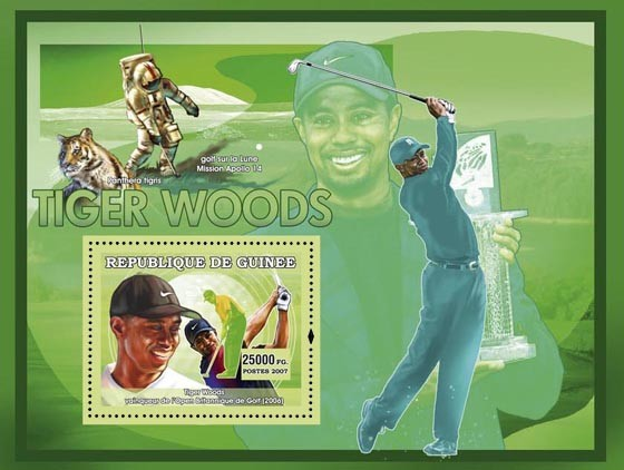 Golf  Tiger Woods - Issue of Guinée postage stamps
