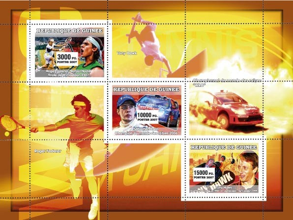 Sports: Tennis - Rallye - Extreme - Issue of Guinée postage stamps