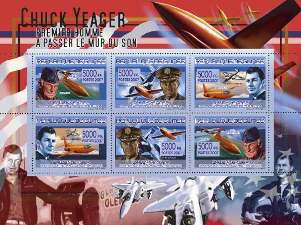 TRANSPORTS - Avions , Chuck Yeager - Issue of Guinée postage stamps