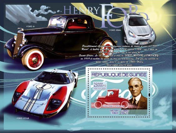 Ford Model T Roadster - Issue of Guinée postage stamps