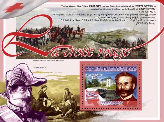 Henry Dunant ( Napoleon III, Bataile Solferino 1859 ) - Issue of Guinée postage stamps