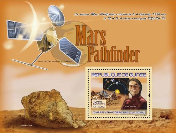 Ares Vallus 1997 , Carl Sagan - Issue of Guinée postage stamps