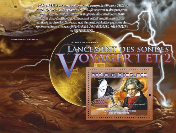 Voyager 1 & 2 (L.Van Beethoven, Satellite) - Issue of Guinée postage stamps