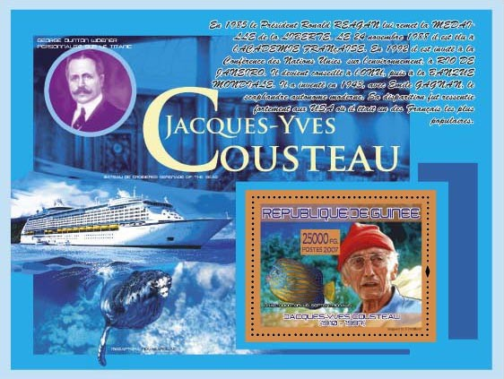 J.Y.Cousteau ( Ship Cruise Serenada of the Sea ) - Issue of Guinée postage stamps