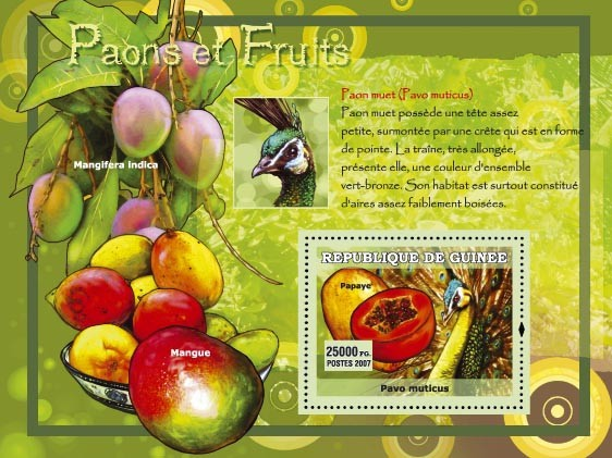 Paon muet / Pavo muticus - Issue of Guinée postage stamps