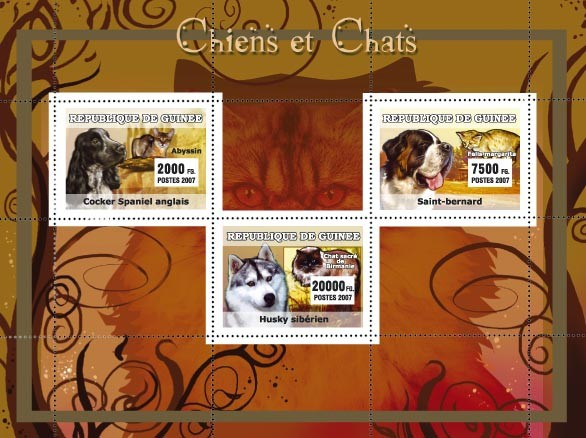 Dogs / Chiens, Cats / Chats - Issue of Guinée postage stamps