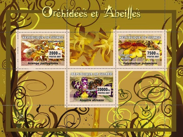 Orchids / Orchidees, Bees / Abeilles - Issue of Guinée postage stamps