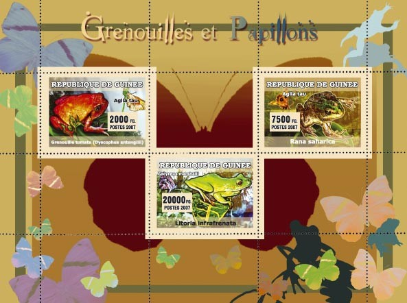 Grenouilles et Papillons / Frogs and Butterflies - Issue of Guinée postage stamps