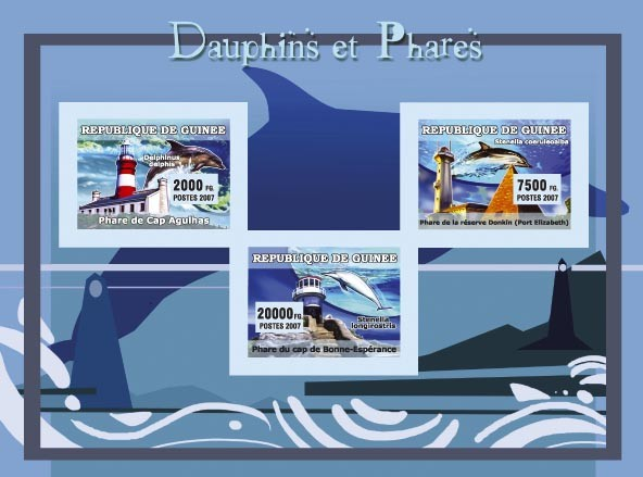 Dauphins et Phares / Dolphins and Lighthouses - Issue of Guinée postage stamps