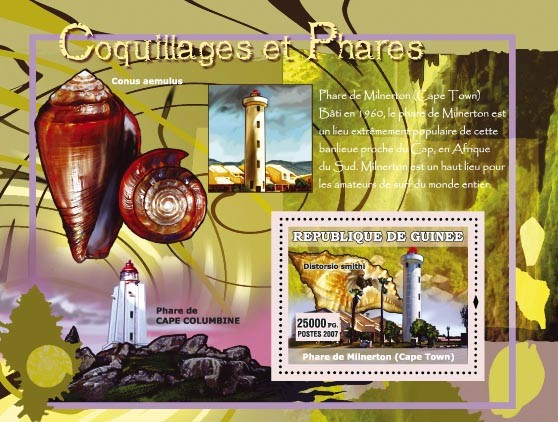 Conus aemulus / Phare de Cape Columbine - Issue of Guinée postage stamps