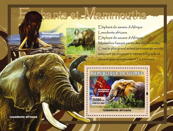 Elephant de savane dAfrique  / Mammuthus primigenius - Issue of Guinée postage stamps
