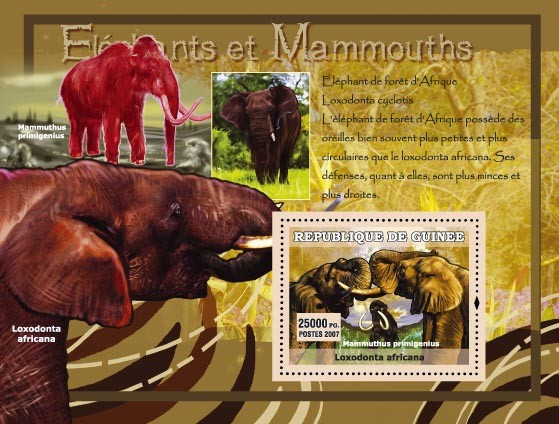 Elephant de for?ᅠ??t dAfrique  / Mammuthus primigenius - Issue of Guinée postage stamps