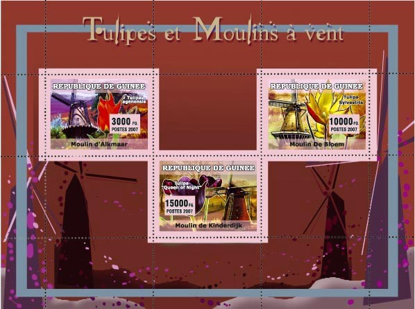 Tullips et Moulins vent / Tullips and Windmills 3v - Issue of Guinée postage stamps