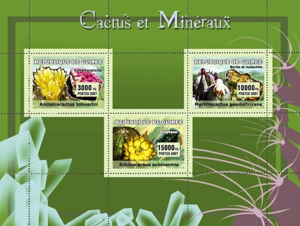 Cactus et Mineraux / Cactus and Minerals 3v - Issue of Guinée postage stamps