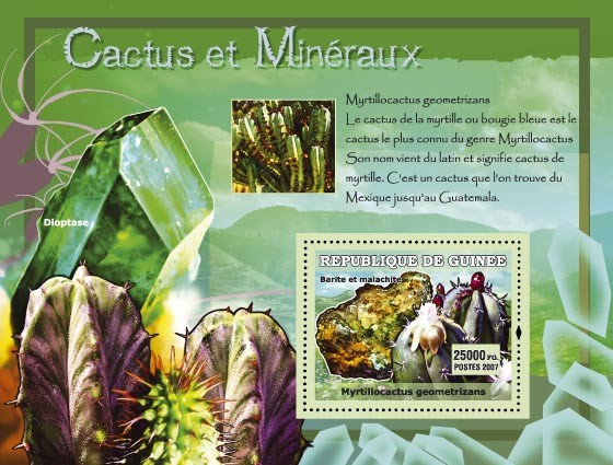 Myrtillocactus geometrizans / Dioptase - Issue of Guinée postage stamps