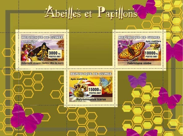 Abeilles et Papillons / Bees and Butterflies 3v - Issue of Guinée postage stamps