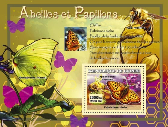 Chiffre / Gonepteryx Rhamni - Issue of Guinée postage stamps
