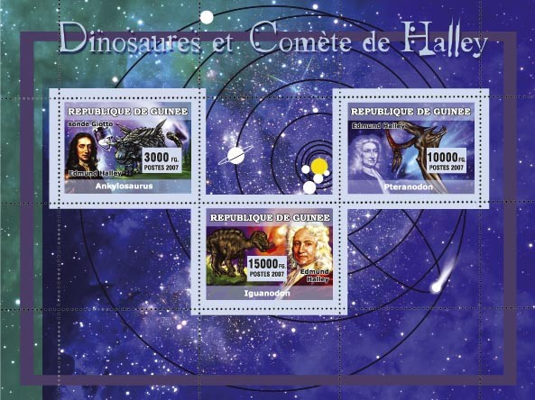 Dinosaures et Com?�te de Halley / Dinosaurs and Halley s 3v - Issue of Guinée postage stamps