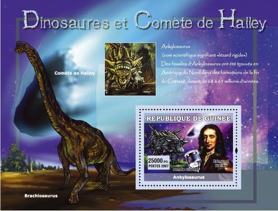 Ankylosaurus, Brachiosaurus / Edmund Halley - Issue of Guinée postage stamps