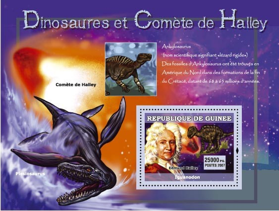 Ankylosaurus, Plesiosaurus / Edmund Halley - Issue of Guinée postage stamps