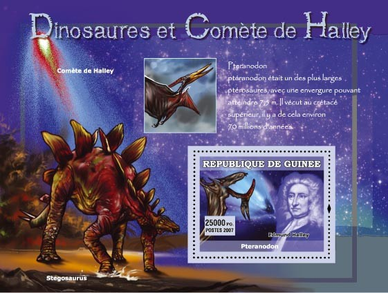 Ptenarodon, Stegosaurus / Edmund Halley - Issue of Guinée postage stamps