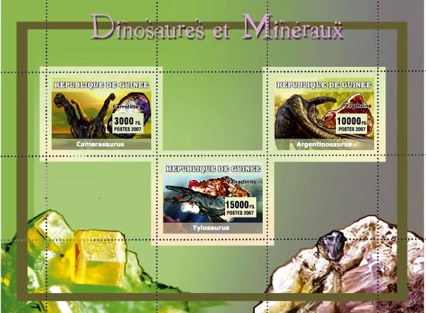 Dinosaures et Mineraux / Dinosaurs and Minerals 3v - Issue of Guinée postage stamps