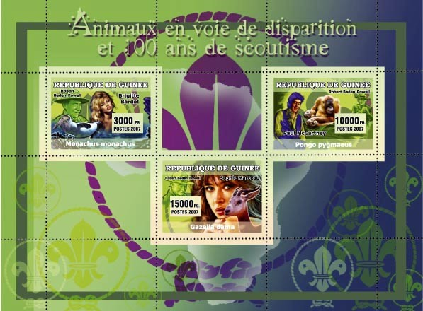 Animaux en danger et 100?�me Anniversaire Scoutism 3v - Issue of Guinée postage stamps