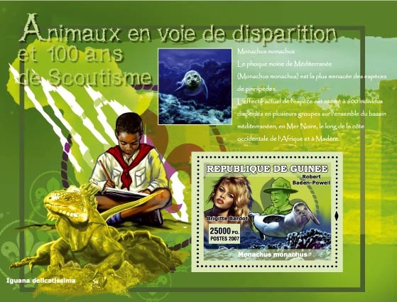 Iguana / Brigite Bardot (fighter for the rights of the animals) - Issue of Guinée postage stamps