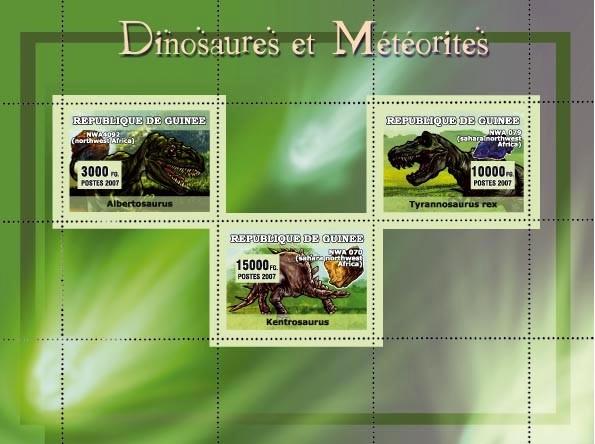 Dinosaures et Meteorites 3v - Issue of Guinée postage stamps