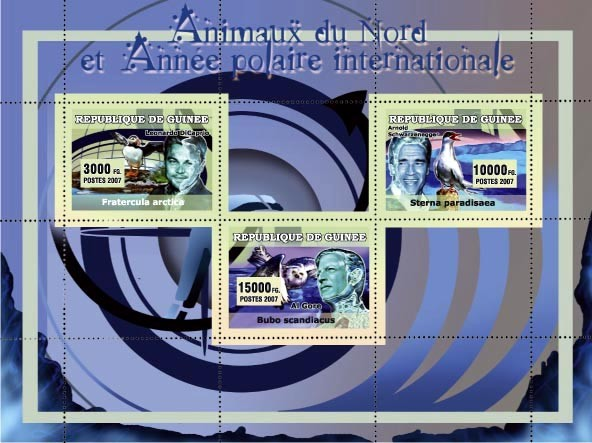 Animaux du Nord et Annee Polaire Internationale 3v - Issue of Guinée postage stamps