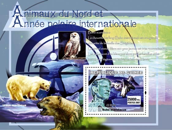 Bubo Scandiacus (owl) / Ursus Maritimus (bear) /Al Gore - Issue of Guinée postage stamps
