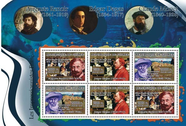 ART - French  Impressionists: Renoir, Degas, Monet 6v - Issue of Guinée postage stamps