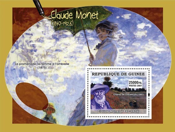 Monet s/s - Issue of Guinée postage stamps