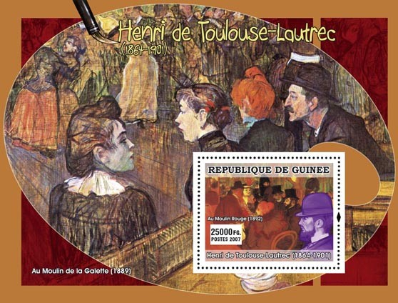 Toulouse-Lautrec s/s - Issue of Guinée postage stamps