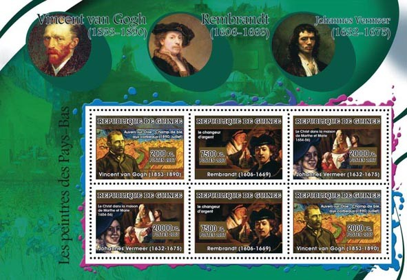 ART - Dutch painters: Van Gogh, Rembrandt, Vermeer 6v - Issue of Guinée postage stamps