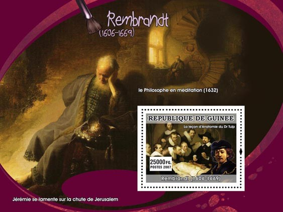 Rembrandt s/s - Issue of Guinée postage stamps