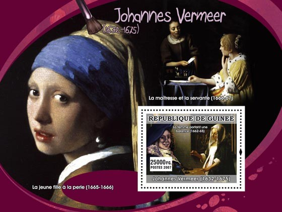 Vermeer s/s - Issue of Guinée postage stamps