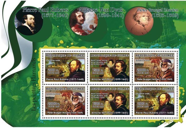 ART - Flemish painters: Rubens, Van Dyck, Brughel 6v - Issue of Guinée postage stamps