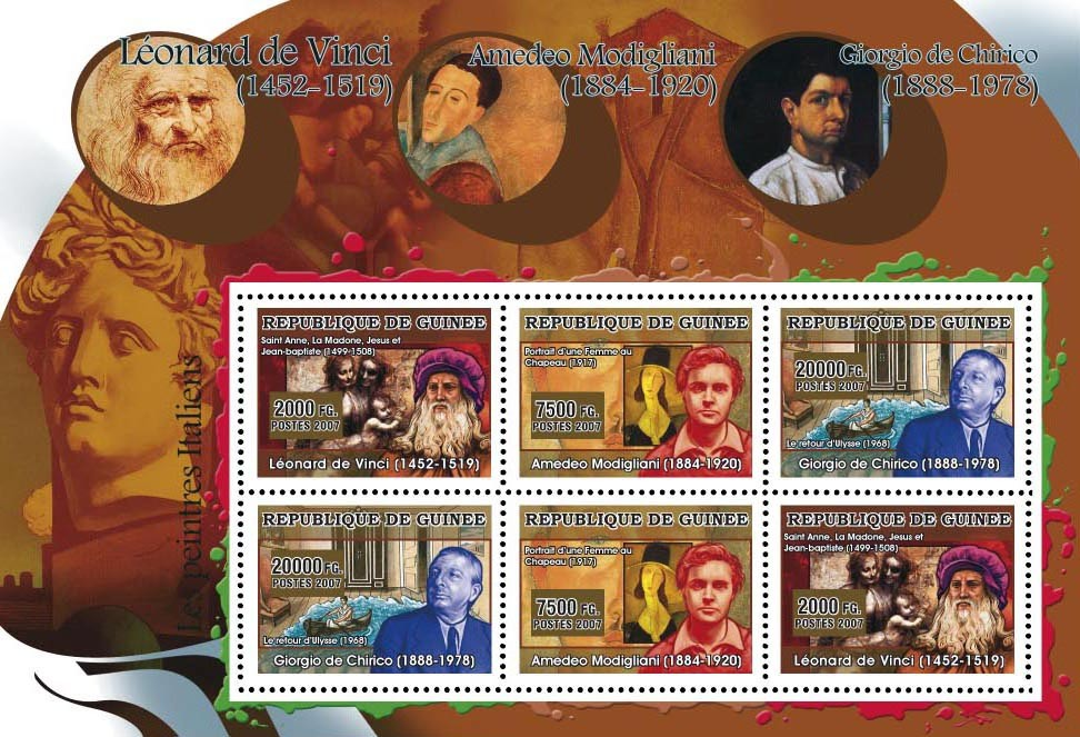 ART - Italian painters: Da Vinci, Modigliani, Chirico 6v - Issue of Guinée postage stamps
