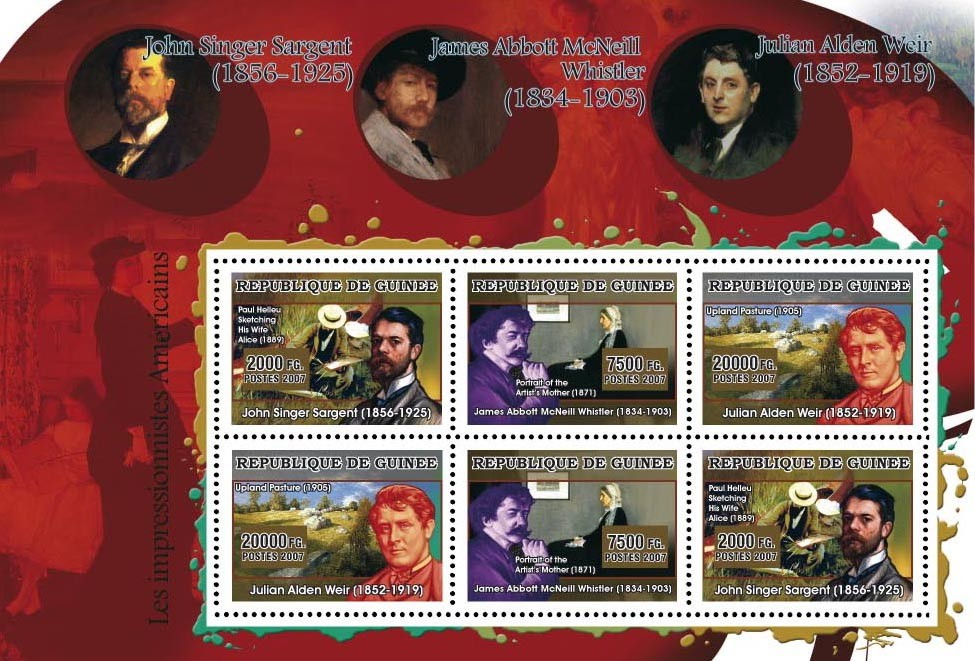 American Impressionists - Issue of Guinée postage stamps