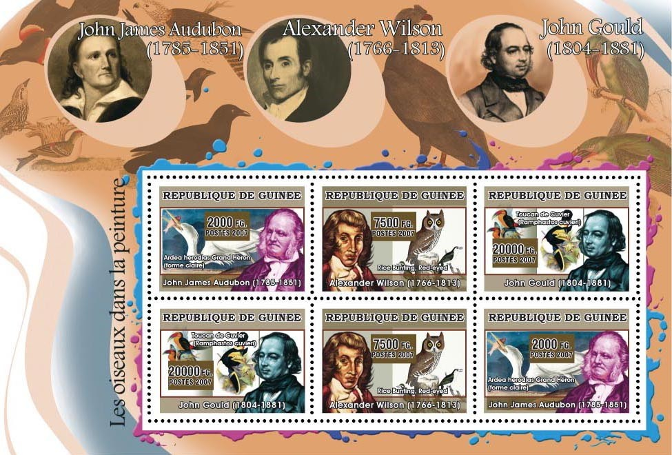 ART - Birds on paintings 6v - Issue of Guinée postage stamps