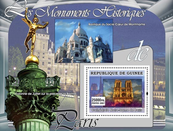 Cathedrale Notre Dame de Paris - Issue of Guinée postage stamps