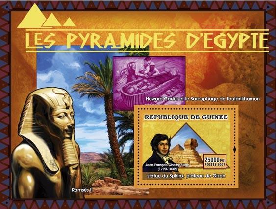 Statue du Sphix, plateau du Gizeh, J.F. Champollion - Issue of Guinée postage stamps