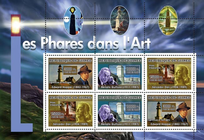 ART - Lighthouses in Art - Issue of Guinée postage stamps