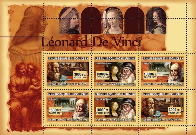 ART - Leonard Da Vinci - Issue of Guinée postage stamps