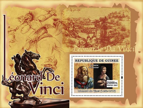 La Dame a lhermine - Issue of Guinée postage stamps